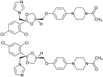 350px-Ketoconazol-Enantiomere_Strukturformeln.png